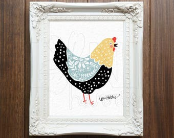 Wall Art Printable, Instant Download File, Chicken, 8x10 home decor print