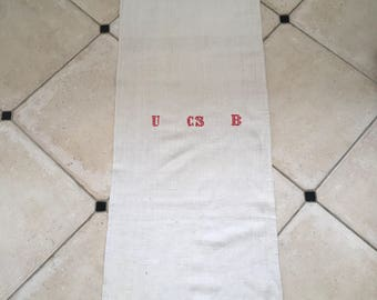 NS1721 Monogrammed 'UCSB' Natural Limestone Vintage Linen Grainsack Fabric Sewing Projects Upholstery Bath Mat or Laundry Bag