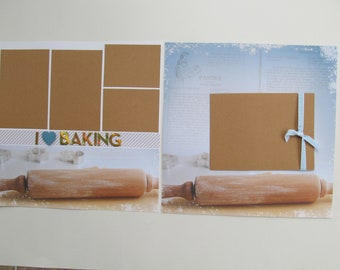 Baking or Cooking 12x12 Scrapbook Layout, Scrapbook Page, Scrapbook Mini Album, Pre-Made Pages, Pre-Made Albums