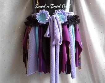 GIRLS TUTU SKIRT, shabby pixie tutu, dance costume, blue purple black, 4 5 6 7 year old, birthday tutu, tattered fairy skirt, gypsy clothing