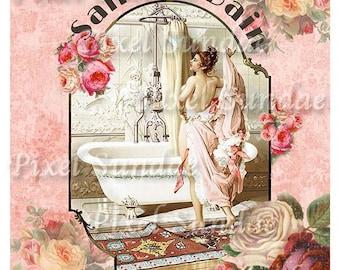 Vintage Parisian Bath Collage Print -INSTANT Digital Download