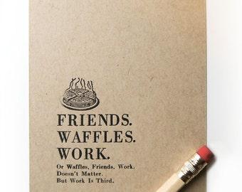 "Letterpress Print Friends Waffles Work - limited edition artwork print  gallery wall print - small tiny print 4bar - 3 1/2"" x 4 7/8"""