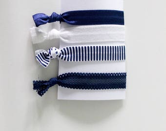 NAVY BLUE -- Colourful hairties handmade ibiza style, hair elastics for girls, no fold crease hair accessories, haar elastiekjes