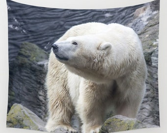 White bear tapestry animal tapestry water tapestry Photo Tapestry Nature Tapestry Green Tapestry Wall Hanging Tapestry hippie tapestry