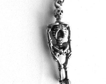 Skeleton Necklace, Skeleton Jewelry, Skeleton Pendant, Skull Necklace, Charm Necklace, Halloween Jewelry, Sterling Silver Jewelry, Skeleton