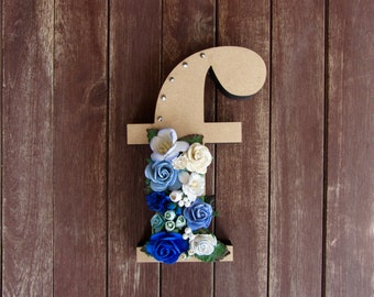 Floral Decorated Wooden Letter - lowercase f / wall nursery birthday wedding office decor