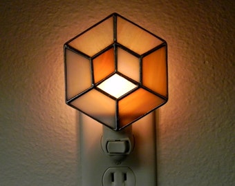 Geometric Stained Glass Nightlight in Tan and Iridescent Cream - Ready to Ship