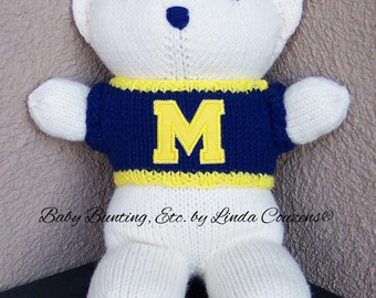 Bear, Michigan Wolverines Bear, Baby Boy Bear, Baby Shower Gift, Birthday Gift, Keepsake Bear, Souvenir Bear, Father's Day