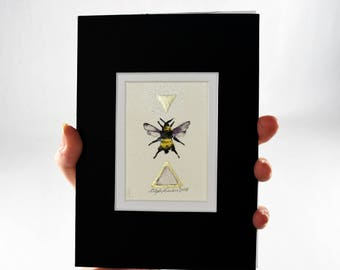 Original Painting of a Bumble Bee, Bombus Pensylvanicus, ACEO, Ink with 18k Gold Leaf, Ready to Frame