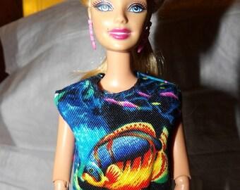 Fashion Doll Coordinates -Sleeveless ocean & fish print top - es369