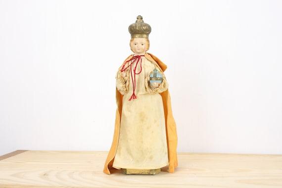 Vintage Chalkware Religious Statue - Infant Jesus of Prague - Cloth Gown - Mid Century - Religious Icon - Gilt Accents - 1950's - 1960's