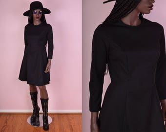70s Black Fit and Flare Dress/ Small/ 1970s