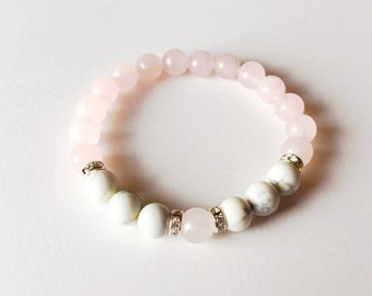 Healing Anger, Rose Quartz White Howlite Healing Jewelry Intention Bracelet Yoga Jewelry Mala Beads Healing Bracelet