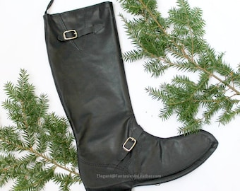 Black Leather Boot Christmas Stocking (CUS121)