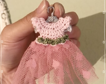 1:12 baby dress miniature - dolls house - hand made - crochet and tulle wearable