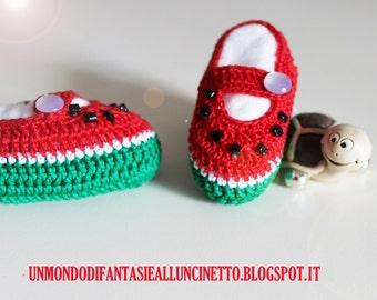 Crochet baby watermelon shoes