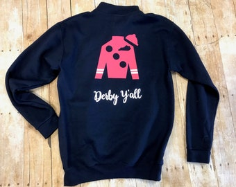 Navy Derby Y'all 1/4 zip sweatshirt KY Derby, Kentucky Derby, Derby Theme, Jockey, Uni-sex Youth