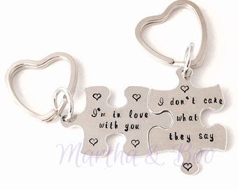 Customised key ring, custom couples gift, jigsaw puzzle keyring, personalised jewelry, custom jewellery, hand stamped, valentine's day gift