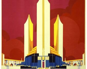 Vintage Chicago Worlds Fair Travel Poster Print