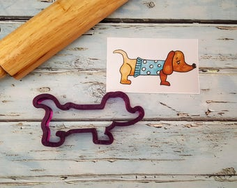 Dachshund or Wiener Dog in a Sweater Cookie Cutter or Fondant Cutter and Clay Cutter