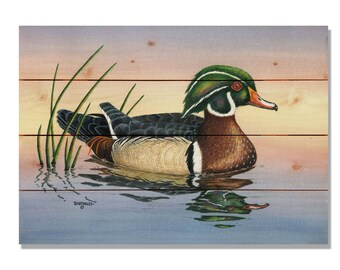 Bartholet's Woody Duck, Wood Duck Watercolor Bird Print on Wood, Wall Hanging Home Decor (DBWO)