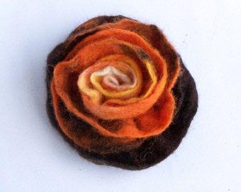 Orange flower brooch, hand felted from natural wool, rustic multicolor brown orange floral pin