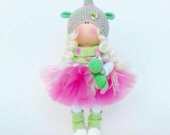 Tilda Doll Handmade Doll Unicorn doll Textile Doll Green Doll Fabric Doll Green Doll Muñecas Soft Doll Cloth Doll Baby Doll