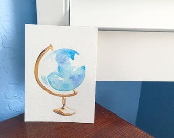 Globe Watercolor Painting