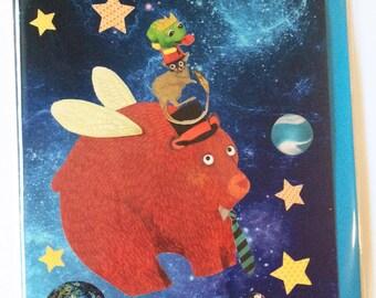 Space Bear Greeting Card (space series) - blank inside