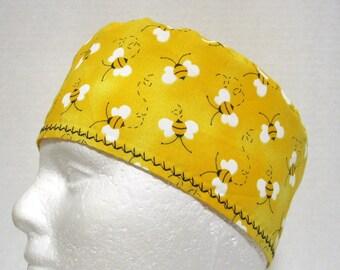 Scrub Hat, Surgery Cap or Chemo Cap  Bees on Sunshine Yellow
