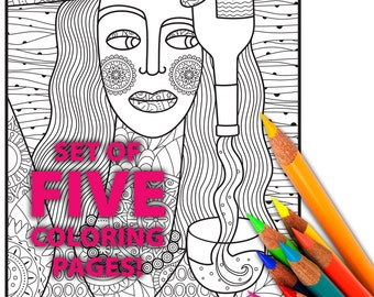 WINE, Adult Coloring Pages, Adult Coloring Sheets, Coloring, Pages, Sheets, Digital, Printable, Coloring Page for Adults