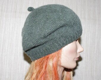 Pure Cashmere Green Hand Knit Beret Hat Cap Women Girl Size: Small
