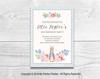 Personalised Blue Peter Rabbit Children's Birthday Party Invitations - PACK OF 10