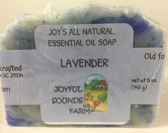 Handmade, All Natural ESSENTIAL OIL SOAP, organic, old fashioned, lavender