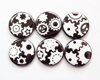 Magnet set, Magnets, Fridge Magnets, button magnets, Kitchen Magnets, Abstract Design, Black White, Gears, Locker Magnets (3761)