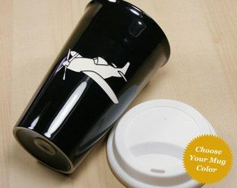 Airplane Travel Mug - insulated ceramic coffee cup with lid