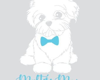 Maltese Mom with Bow Tie Decal