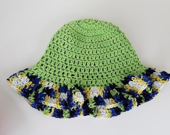 Baby Summer Sun Hat in Green and Variegated
