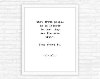 Best Friend Gift for her, Galentines Day Gift Print, Friendship Typewriter Quote Print, typography