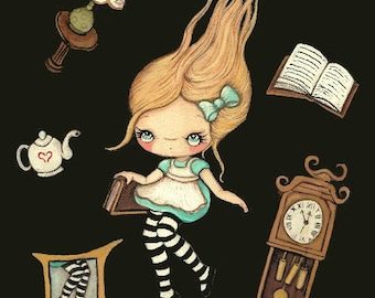 Alice In Wonderland Print Cute Alice Falling Fairy Tale Wall Art ---Down the Rabbit Hole