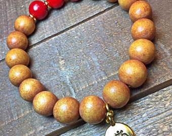 Men's Ohm bracelet, mens bracelet, beaded bracelet, stretch bracelet, jewelry, gifts for him, stackable bracelet, yoga jewelry wood bracelet