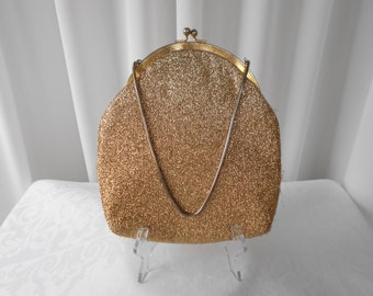 "Vintage ""Prestige Bags"" Gold Lame Evening Purse 1960's  #20024"