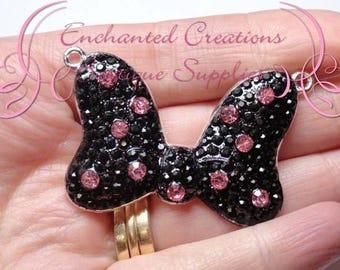 "2"" Minnie Inspired Bow Necklace Charm, Rockabilly Polka Dot Chunky Pendant, Keychain, Bookmark, Zipper Pull, Chunky Jewelry, Purse Charm"