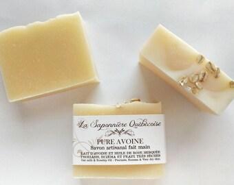 Savon au Lait d'Avoine, Savon artisanal fait main 100% naturel, Oat milk and Rosehip Oil Soap, Cold process All Natural Handmade Soap