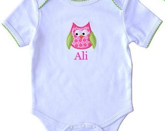 Hoot Owl Bodysuit  Girl's One Piece Outfit   Personalized Baby Gift   Monogram Baby Gift   Baby Shower Gift