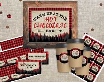 Hot Chocolate Bar sign 8x10, Lumberjack Birthday Decorations, Table Tents, Cup Tags, Lumberjack Hot Chocolate Bar, Lumberjack party sign