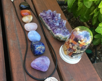 Gem Gift Pack - 11 Gem Pieces - Includes 7 Tumbled Stones-cage & necklace-amethyst cluster and chakra dome-see below for details...