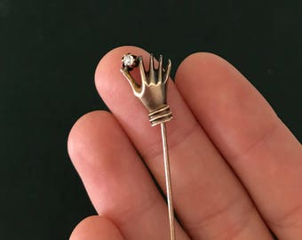 Victorian Hand Stick Pin with Diamond Accent in 14k Gold