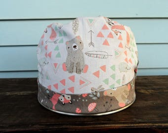 Women's Pixie Style Surgical Cap (Cute Fox, Bear, Deer On White)