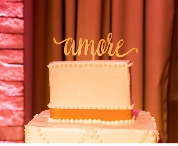 Amore Cake Topper, Wedding Cake Topper,  Love Cake Topper, Engagement Cake Topper, Italian Wedding Cake, Wooden Cake Topper, Rustic Cake